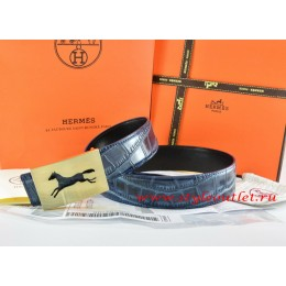 Hermes Blue/Black Crocodile Stripe Leather Reversible Belt 18K Gold Hollow Horse Buckle