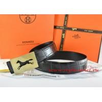 Hermes Black/Black Crocodile Stripe Leather Reversible Belt 18K Gold Hollow Horse Buckle
