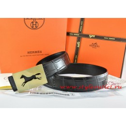 Hermes Black/Black Crocodile Stripe Leather Reversible Belt 18K Gold Hollow Horse Buckle