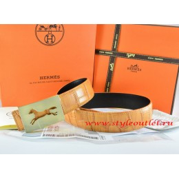 Hermes Orange/Black Crocodile Stripe Leather Reversible Belt 18K Gold Hollow Horse Buckle