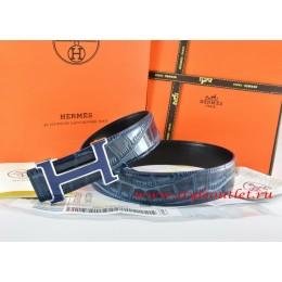 Hermes Blue/Black Crocodile Stripe Leather Reversible Belt 18K Blue Narrow H Buckle