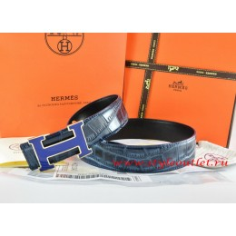Hermes Blue/Black Crocodile Stripe Leather Reversible Belt 18K Silver Width H Buckle