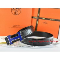 Hermes Black/Black Crocodile Stripe Leather Reversible Belt 18K Blue Narrow H Buckle