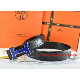 Hermes Black/Black Crocodile Stripe Leather Reversible Belt 18K Blue Narrow H Buckle