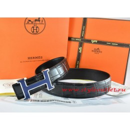 Hermes Black/Black Crocodile Stripe Leather Reversible Belt 18K Silver Width H Buckle