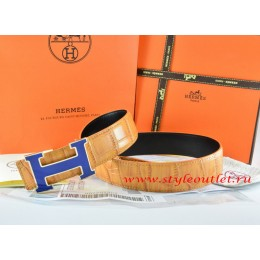 Hermes Orange/Black Crocodile Stripe Leather Reversible Belt 18K Blue Narrow H Buckle