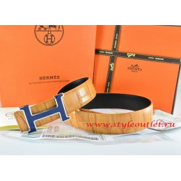 Hermes Orange/Black Crocodile Stripe Leather Reversible Belt 18K Silver Width H Buckle