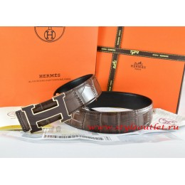 Hermes Brown/Black Crocodile Stripe Leather Reversible Belt 18K Black Gold Width H Buckle