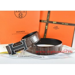 Hermes Brown/Black Crocodile Stripe Leather Reversible Belt 18K Black Silver Width H Buckle