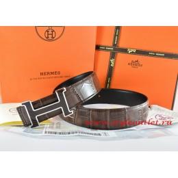 Hermes Brown/Black Crocodile Stripe Leather Reversible Belt 18K Black Silver H Buckle