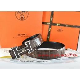 Hermes Brown/Black Crocodile Stripe Leather Reversible Belt 18K Black Silver With Logo H Buckle