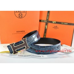 Hermes Blue/Black Crocodile Stripe Leather Reversible Belt 18K Black Gold Width H Buckle