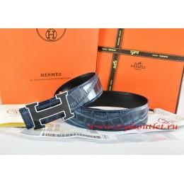 Hermes Blue/Black Crocodile Stripe Leather Reversible Belt 18K Black Silver Width H Buckle