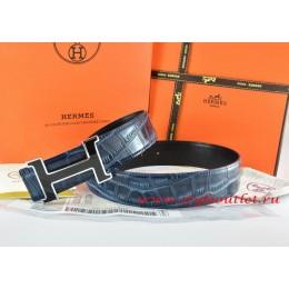Hermes Blue/Black Crocodile Stripe Leather Reversible Belt 18K Black Silver H Buckle