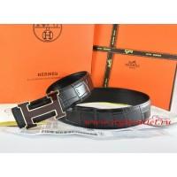 Hermes Black/Black Crocodile Stripe Leather Reversible Belt 18K Black Gold Width H Buckle