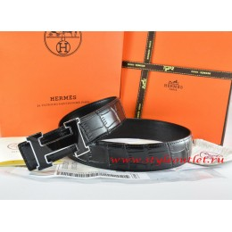 Hermes Black/Black Crocodile Stripe Leather Reversible Belt 18K Black Silver Width H Buckle