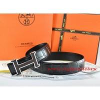 Hermes Black/Black Crocodile Stripe Leather Reversible Belt 18K Black Silver H Buckle
