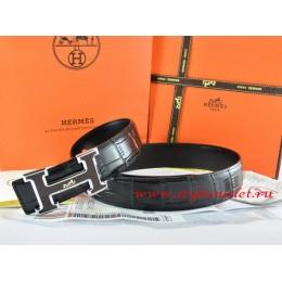 Hermes Black/Black Crocodile Stripe Leather Reversible Belt 18K Black Silver With Logo H Buckle