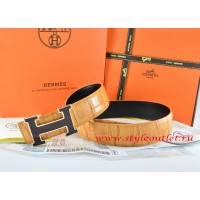 Hermes Orange/Black Crocodile Stripe Leather Reversible Belt 18K Black Gold Width H Buckle