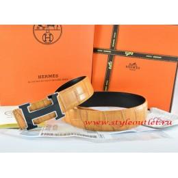 Hermes Orange/Black Crocodile Stripe Leather Reversible Belt 18K Black Silver Width H Buckle