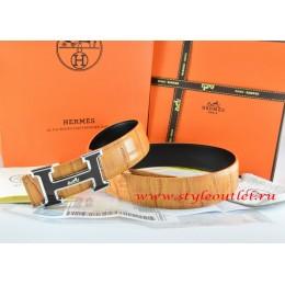 Hermes Orange/Black Crocodile Stripe Leather Reversible Belt 18K Black Silver H Buckle