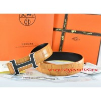 Hermes Orange/Black Crocodile Stripe Leather Reversible Belt 18K Black Silver With Logo H Buckle