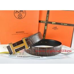 Hermes Brown/Black Crocodile Stripe Leather Reversible Belt 18K Yellow Silver H Buckle