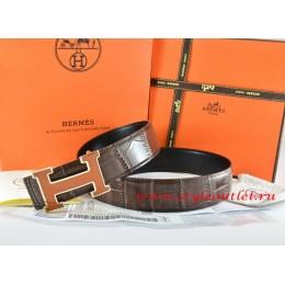 Hermes Brown/Black Crocodile Stripe Leather Reversible Belt 18K Orange Gold H Buckle