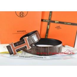 Hermes Brown/Black Crocodile Stripe Leather Reversible Belt 18K Orange Silver H Buckle