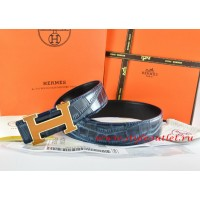 Hermes Blue/Black Crocodile Stripe Leather Reversible Belt 18K Yellow Gold H Buckle