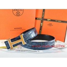 Hermes Blue/Black Crocodile Stripe Leather Reversible Belt 18K Yellow Silver H Buckle