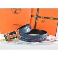 Hermes Blue/Black Crocodile Stripe Leather Reversible Belt 18K Orange Gold H Buckle