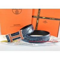 Hermes Blue/Black Crocodile Stripe Leather Reversible Belt 18K Orange Silver H Buckle