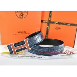 Hermes Blue/Black Crocodile Stripe Leather Reversible Belt 18K Orange Silver H Buckle