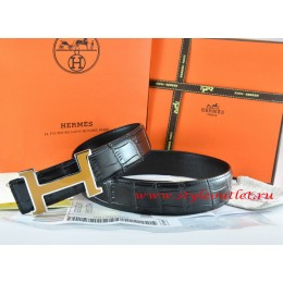 Hermes Black/Black Crocodile Stripe Leather Reversible Belt 18K Yellow Silver H Buckle