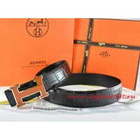 Hermes Black/Black Crocodile Stripe Leather Reversible Belt 18K Orange Gold H Buckle