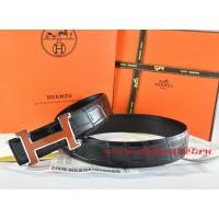 Hermes Black/Black Crocodile Stripe Leather Reversible Belt 18K Orange Silver H Buckle