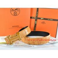 Hermes Orange/Black Crocodile Stripe Leather Reversible Belt 18K Yellow Gold H Buckle