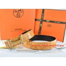 Hermes Orange/Black Crocodile Stripe Leather Reversible Belt 18K Yellow Silver H Buckle