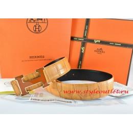 Hermes Orange/Black Crocodile Stripe Leather Reversible Belt 18K Orange Gold H Buckle