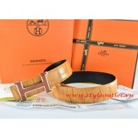 Hermes Orange/Black Crocodile Stripe Leather Reversible Belt 18K Orange Silver H Buckle