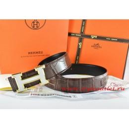Hermes Brown/Black Crocodile Stripe Leather Reversible Belt 18K White Gold H Buckle