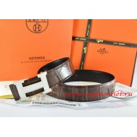 Hermes Brown/Black Crocodile Stripe Leather Reversible Belt 18K White Silver H Buckle