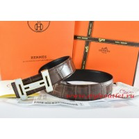 Hermes Brown/Black Crocodile Stripe Leather Reversible Belt 18K Black Gold With Logo H Buckle
