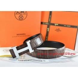 Hermes Brown/Black Crocodile Stripe Leather Reversible Belt 18K White Silver Narrow H Buckle