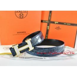 Hermes Blue/Black Crocodile Stripe Leather Reversible Belt 18K White Gold H Buckle