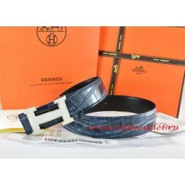 Hermes Blue/Black Crocodile Stripe Leather Reversible Belt 18K White Silver H Buckle