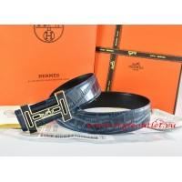 Hermes Blue/Black Crocodile Stripe Leather Reversible Belt 18K Black Gold With Logo H Buckle