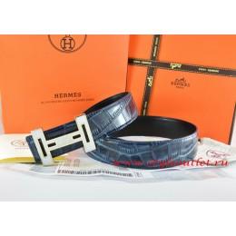 Hermes Blue/Black Crocodile Stripe Leather Reversible Belt 18K White Gold With Logo H Buckle
