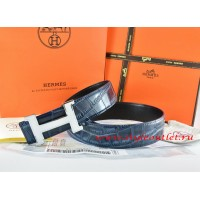 Hermes Blue/Black Crocodile Stripe Leather Reversible Belt 18K White Silver Narrow H Buckle
